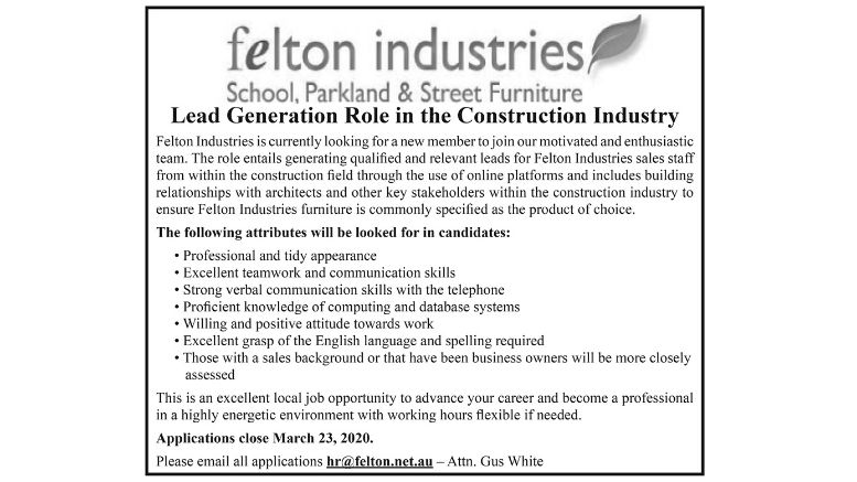 LEAD GENERATION ROLE IN THE CONSTRUCTION INDUSTRY – FELTON INDUSTRIES