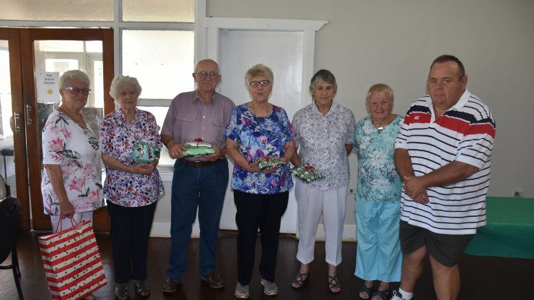 St Vincent de Paul Condobolin held their Christmas Party at the Condobolin Sports Club recently. Much merriment and fun was had by all. ABOVE: Bev Thornton, Pauline Doyle, John Atkinson, Judy Vane-Tempest, Sue Laing, Judy Price and Jeffery Grogan had a great time at the event. Image Credit: Melissa Blewitt.