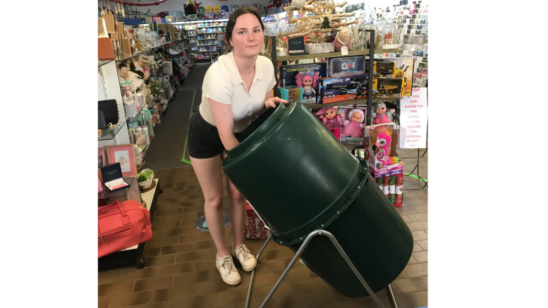 Lara Noll helped draw out winners from the Condobolin Chamber of Commerce #Shop Condo for Christmas# draw at Condobolin Newsagency on Friday, 11 December. Image Credit: Vicki Hanlon.