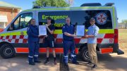 • Paramedic Kim Little, Connor Thompson, Station Officer David Truscott, and Nnoah Turner. The two local boys were presented with Certificates of Appreciation (Community) from NSW Ambulance following their bravery after a School bus crash in December 2018. Image Contributed.