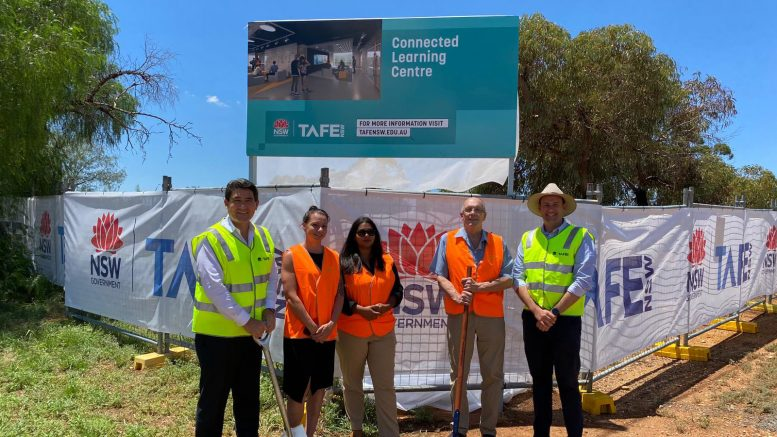 Minister for Skills and Tertiary Education, Geoff Lee, Tiff, Amanda, Deputy Mayor Cobar Shire Council Peter Abbott and NSW Nationals Upper House MP, Sam Farraway inspecting the beginning of the new multi-million dollar TAFE NSW Connected Learning Centre (CLC) and multi-trades workshop at Cobar. Image Contributed.