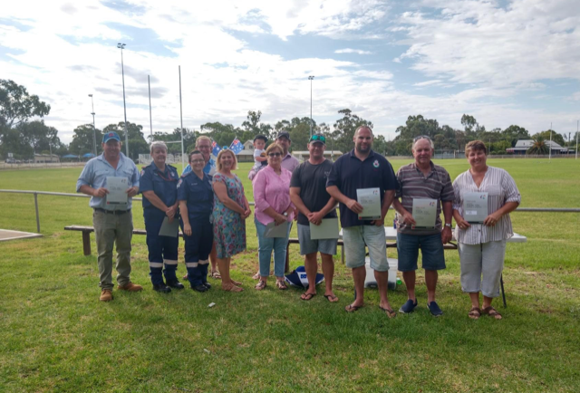 Trundle recognised their services - NSW Police, NSW Ambulance, NSW RFS Branches – Backwater, the Troffs, Trundle Village, Bruie Plains, Blow Clear, Sandy Creek NSW Health SES – Donald Wright.