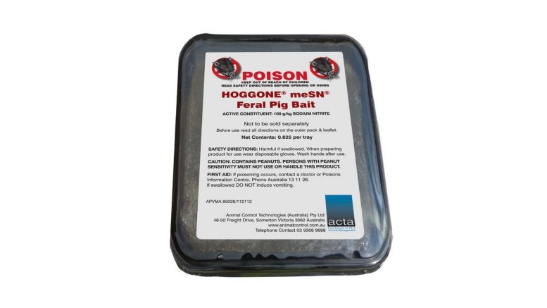 HOGGONE, a new innovative product, will help farmers in their fight against feral pigs. HOGGONE is a Schedule six poison so landholders can buy and use it without specific training or certification. It is deployed via a specially designed HOGGONE bait box that non-target animals cannot access. Image Credit: Animal Control Technologies Australia (ACTA).