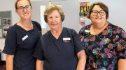 Barbara Carroll (centre) has reached an amazing 63 years of service recently. She has spent 43 years of those being with the Western NSW Local Health District. Image Credit: Western NSW Local Health District Facebook Page.