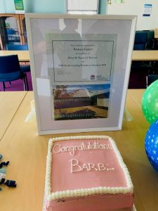 The celebration cake for Barb Carroll's surprise afternoon tea. Image Credit: Western NSW Local Health District Facebook Page.