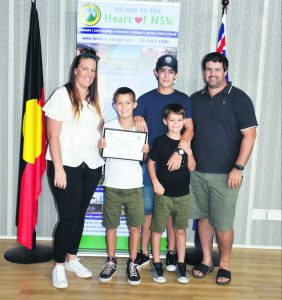 Carly Dwyer, Lachlan Shire Young Citizen of the Year Tate Dwyer, Blake Dwyer, Nash Dwyer and Ben Dwyer. Image Credit: Melissa Blewitt.