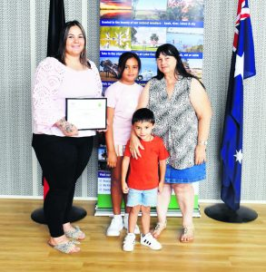 Lachlan Shire Young Citizen of the Year nominee Katy Quinn with Jimilla Thorpe, Arlo Quinn and Bev Quinn. Image Credit: Melissa Blewitt.