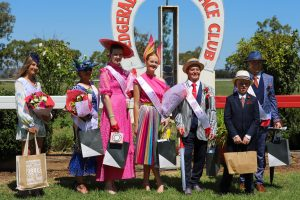 LEFT: Fashions in the Field saw many dressed in their fantastic finery, Fascinators and sharp suits captured the imaginations of many. Image Credit: Bedgerabong Picnic Race Club Inc Facebook Page.