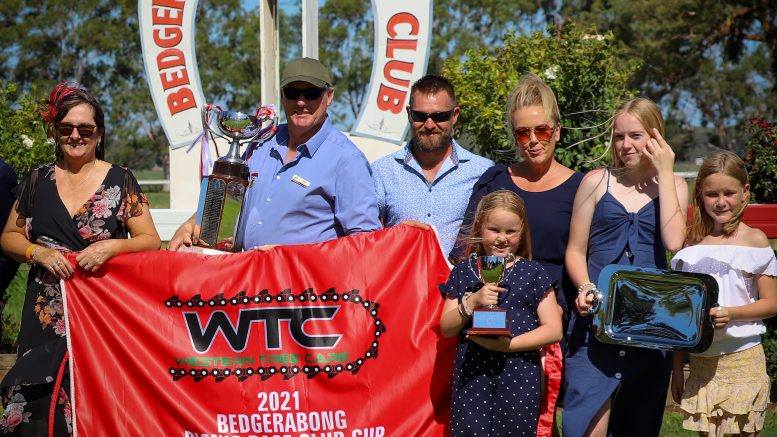 Song One, with 17-year-old Will Stanley in the saddle claimed the the $9,000 Western Tree Care Bedgerabong Picnic Cup. Deputy Prime Minister Michael McCormack presented the Cup to all of Song One's connections. Song One was purchased for $700 and has since won over $70,000 in prizemoney. Image Credit: Bedgerabong Picnic Race Club Inc Facebook Page.