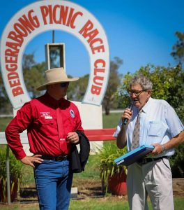 Legendary Col Hodges was honoured by the Bedgerabong Picnic Race Club Committee for his 50 years in the industry at the races on Saturday, 13 February. Image Credit: Bedgerabong Picnic Race Club Inc Facebook Page.