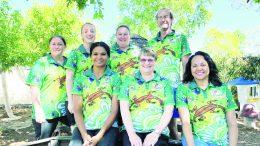 Staff and Belinda Coe (front row right) showcase the 2021 Condobolin Preschool and Childcare Centre Aboriginal design shirt. Belinda designed the shirt for the facility. Image Credit: Condobolin Preschool and Childcare Centre Facebook Page.