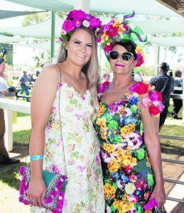 Becc Kontrec and Debbie Hamilton donned thier finest fascinators for the Races. Image Credit: Kathy Parnaby.