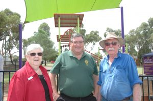 Claire Goodwin (Young Lion Club) George Freudenstein (Young Lions Club) Peter Worthington (Condobolin Lions Club) catching up on the day. Image Credit: Kathy Parnaby
