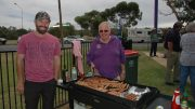 David Brangwin and Neil Lambret( Forbes Lion Club) enjoyed some comradeship while manning the BBQ. Image Credit: Kathy Parnaby