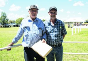 Garry Bignell, trainer of Oxygen Man, who won the Vella Stock Feeds Maiden Plate, with race sponsor Fred Vella. Image Credit: Kathy Parnaby.