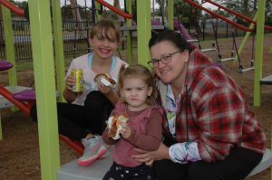 Hailey Brangwin, Evie Mooney and Lauren Millar enjoyed the BBQ and playing on the equipment at Memorial Park. Image Credit: Kathy Parnaby