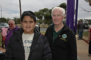 Jarell Atkinson helped set up the BBQ for the Lions BBQ with Roger Thomas(Lion Bathurst). Image Credit: Kathy Parnaby.