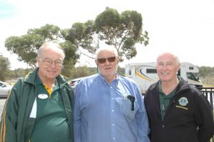 Michael Ryan(2nd Vice District and Governor) Peter Mooney(Condobolin Lions President) Roger Thomas(Bathurst MacQuarie Lions Club enjoyed catching up on the awareness day. Image Credit: Kathy Parnaby.