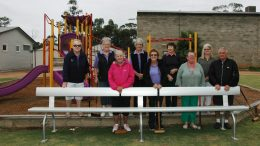 Nancy Dodgson, Dawn Jones, Shirley Bell, Kay Harley, Betsy Wheeler, Elizabeth Weston, Genene Reardon, Liz Crook and Allan Dodgson proudly showing the new seats funded by Evolution Mining. The Club are very grateful to Evolution Mining for the grant. Image Credit: Kathy Parnaby