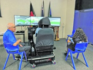 Frank Lincoln and Ken Engsmyr from Parkes Rotary took the students through their paces with the simulator. Year 11 and 12 Students were given an opportunity to operate the simulator with the active programme targeting distractions whilst driving. Image Credits Condobolin Rotary