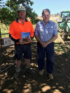 - L- R - Steve Morton Borambola NSW discussing the K-7M 300 Standard features and pricing with Kirovets NSW Sales Manager Chis Hughes at Borambola North on 26-2-2021. Image Contributed.
