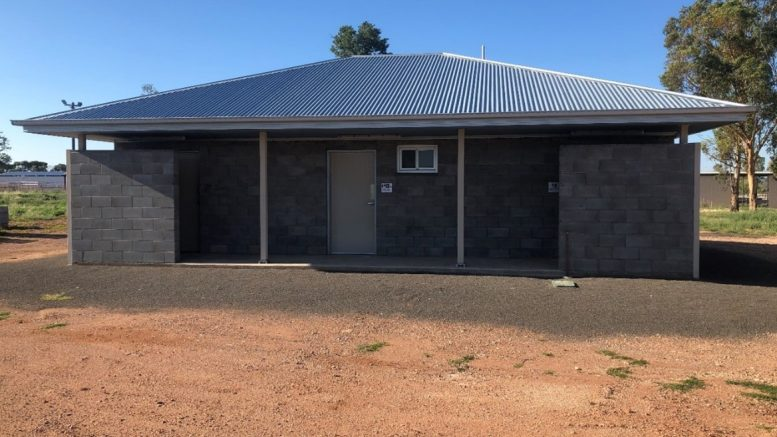 The new amenities building, includes male, female and ambulant toilets, showers, a disabled toilet and provision of a baby change table. Image Credit: Lachlan Shire Council.