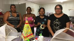 Some of the Sistas at the Condo SistaShed with some of their lantern experiments. From left, Aleesha Goolagong, Zanette Coe, Bev Coe, Charmaine Coe. Photo by Merrill Findlay, Feb. 2021