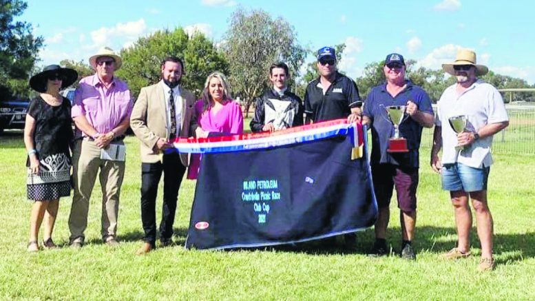 Nevada Sunrise won the $10,000 Inland Petroleum Condobolin Picnic Cup on Saturday, 20 February. The trophy was presented to Nevada Sunrise's connections after the race. Image Credit: Inland Petroleum Facebook Page.