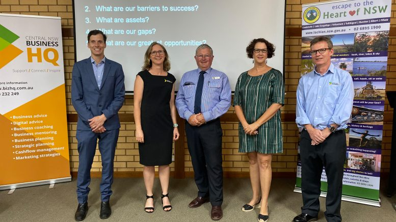 RDA Central West CEO Sam Harma, Tourism Business Advisor Rebecca George, Lachlan Shire Council Mayor John Medcalf, Orange360 General Manager Caddie Marshall and Central NSW Business HQ CEO Wayne Sunderland. Image Credit: Regional Development Australia Central West.