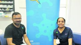 Stephy James and Jithin. A Mobile Vaccination Team visited Tottenham on 29 March. Image Credit: Western NSW Local Health District (WNSWLHD).