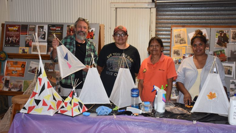 Phil Relf (Ikara Celebratory Events), Bev Coe, Belinda Coe and Samantha Byers took part in a Sky-Lantern making workshop at the Condo Sistas Shed on 30 March. A group have begun designing and making giant lanterns of mythic figures from Wiradjuri star lore. Image Credit: Melissa Blewitt.