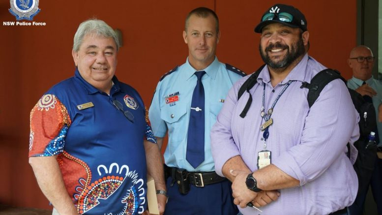 Kevin Read (Condobolin), Inspector Shane Jessop and Will Green were part of the Aboriginal Employee Network meeting at Dubbo in March. Image Credit: NSW Police Force/Orana Mid-Western Police District Facebook Page.