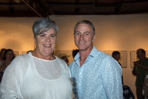 Annie and Craig Ryan enjoyed the Condobolin District Landcare Water and Birds Art Exhibition. Image Credit: Kathy Parnaby.