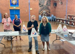 Phil Relf and Marion Packham participated in the Sky-Lantern Workshop at Condobolin Primary School. School children will make lanterns for SkyFest and there will be prizes for best decorated and most creative pieces. Image Contributed.