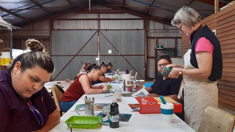Condobolin District Landcare will be hosting a Water and Birds Art Exhibition in April, and the Condobolin SHINE Women group will be one of the featured artists. Renowned local artist Karen Tooth has been conducting workshops with the SHINE Women group at Western Plains Regional Development every Thursday. Image Credits: Lachlan Arts Council Facebook Page.