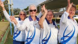Southern Slopes District Womens Senior Fours title went to Pauleen Dimos (S), Pam Nicholl, Judy Johnson and Colleen Helyar representing the Condobolin Sports Club. Image Contributed.