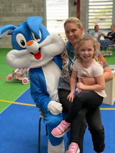The Easter Bunny was a special guest at the Condobolin Schools As Community Centres Easter Playgroup held at Willowbend Sports Centre 2877 on Tuesday, 30 March. Image Credit: Condobolin Schools As Community Centres Facebook Page.