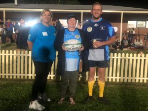 Lee-Anne Denyer, Debbie Grogan (who was presented with the signed game ball) and Bart Anderson. Image Credit: Condobolin Rugby Union Facebook Page.