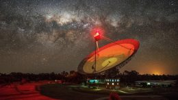 CSIRO's Parkes telescope against the Milky Way