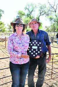 Best Presented pen award went to Bruce and Carol Stonestreet of 'Glen-Ayr'. They sold their 160 Dorper ewe lambs for $334 to Allan, Tom and Banjo Ryan of 'Kimaculla' Condobolin. Image Credit: Melissa Blewitt.