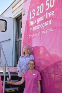The Breastscreen NSW Van will be in Condobolin until 12 May. It will be located at the Brenshaw Medical Centre Car Park (3 Melrose Street, Condobolin). To book a mammogram with BreastScreen NSW, call 13 20 50. Janine Carney and Karen Ross are helping to provide services while the Van is in town. Image Credit: Melissa Blewitt.