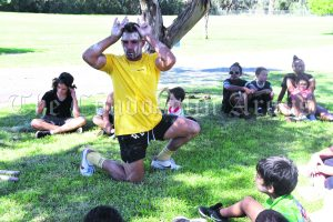 Joshua Toole of Blackfit Fitness visited Condobolin during the April School Holidays. Local youth particpated in a number of activities including traditional dance. Image Credits: Melissa Blewitt.