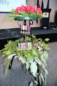 The representation of the Eternal Flame, which also showcased medals from those who had served in conflicts. mage Credit: Melissa Blewitt.