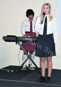 Daniel Gile and Kiara Harris performed the Australia Anthem at the commemoration. mage Credit: Melissa Blewitt.