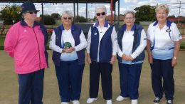 National Umpire Laraine Lyons, Pauleen Dimos (S), Pam Nicholl, Judy Johnson, and Colleen Helyar, after the team's victory in the 2021 Regional 10, Senior Fours Championship held at West Wyalong on Wednesday, 12 and Thursday, 13 May. Image Contributed.