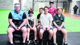 Trainer Damian Bell with Hudson Taylor, Ryley Smith, Angus Chamen, Kye Kendall and Miller Taylor, who all participated in the Teens Classes at Willow Bend Sports Centre 2877 during the recent School Holidays. Image Credit: Melissa Blewitt.