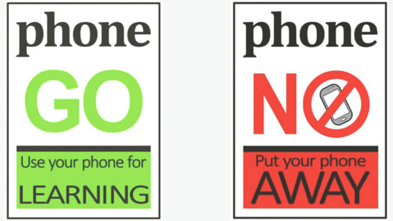 """Every classroom at Condobolin High School will have a double sided poster with """"Phone Go"""" or """"Phone No"""". Images Contributed"""