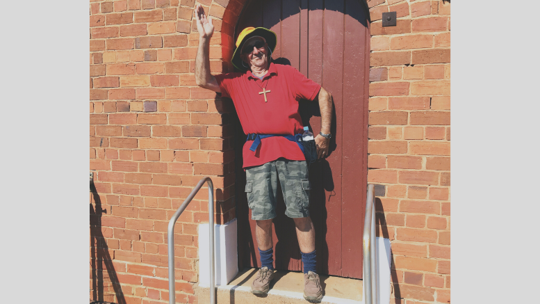 Father Brian Schmalkuche begnning his Walk 4 Christ event. Image Contributed.