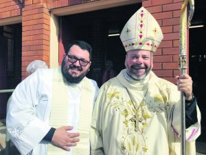 Father Getulio and Bishop Columba Macbeth-Green OSPPE DD celebrating the Patronal Feast of St Joseph's Catholic Parish in Condobolin on Sunday, 2 May. Image Credit: Bishop Columba Macbeth-Green OSPPE DD Facebook Page.