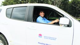 ABOVE: An NRAR staff in the car at Jugiong. Image Credit: Natural Resources Access Regulator's (NRAR).